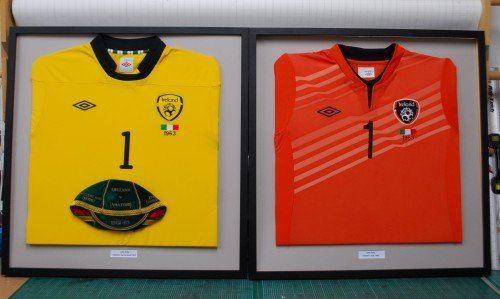 International Irish Keeper Jerseys<br>Two International jerseys we recently framed for John Kelly. John  was a keeper for Bohemians FC when he was selected to play for Ireland in 1963.