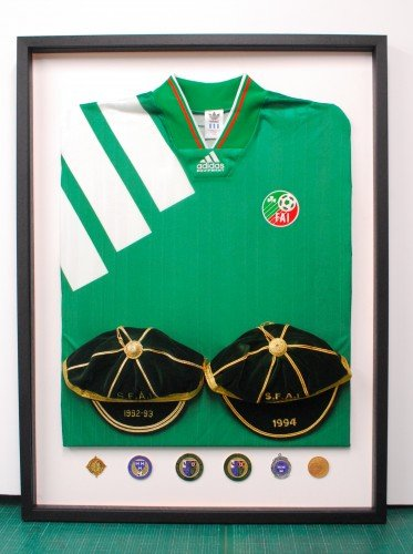 Football Jersey with International Caps and medals.